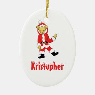 Your Name Here! Custom Letter K Teddy Bear Santas Double-Sided Oval Ceramic Christmas Ornament