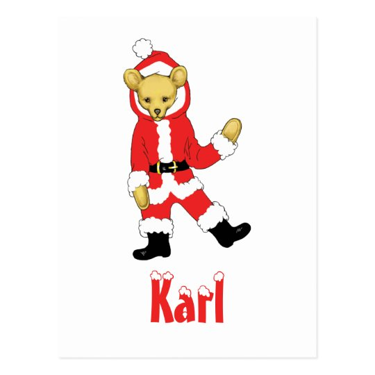 Your Name Here! Custom Letter K Teddy Bear Santas Postcard