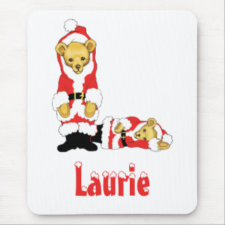Your Name Here! Custom Letter L Teddy Bear Santas Mouse Pad