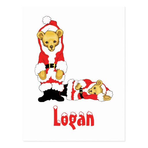 Your Name Here! Custom Letter L Teddy Bear Santas Postcard
