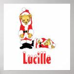 Your Name Here! Custom Letter L Teddy Bear Santas Poster