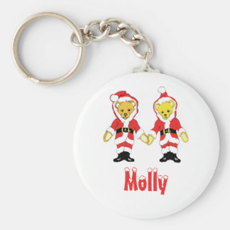 Your Name Here! Custom Letter M Teddy Bear Santas Basic Round Button Keychain