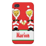 Your Name Here! Custom Letter M Teddy Bear Santas iPhone 4 Cover