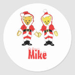 Your Name Here! Custom Letter M Teddy Bear Santas Classic Round Sticker