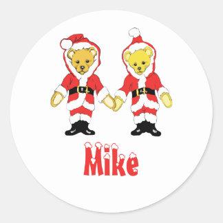 Your Name Here! Custom Letter M Teddy Bear Santas Sticker
