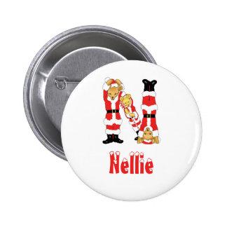 Your Name Here! Custom Letter N Teddy Bear Santas Pins