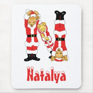 Your Name Here! Custom Letter N Teddy Bear Santas Mouse Pad