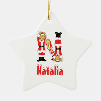 Your Name Here! Custom Letter N Teddy Bear Santas Double-Sided Star Ceramic Christmas Ornament
