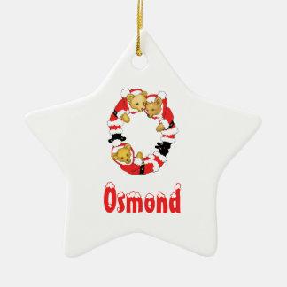 Your Name Here! Custom Letter O Teddy Bear Santas Double-Sided Star Ceramic Christmas Ornament