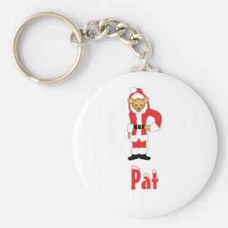 Your Name Here! Custom Letter P Teddy Bear Santas Basic Round Button Keychain