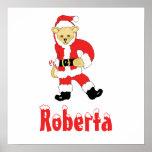 Your Name Here! Custom Letter R Teddy Bear Santas Poster