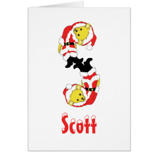 Your Name Here! Custom Letter S Teddy Bear Santas Greeting Card
