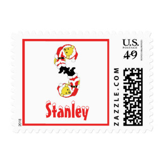 Your Name Here! Custom Letter S Teddy Bear Santas Postage Stamps