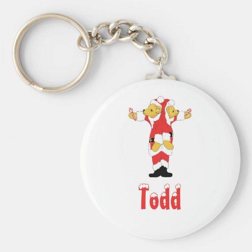 Your Name Here! Custom Letter T Teddy Bear Santas Keychains