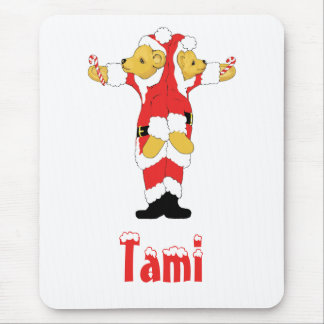 Your Name Here! Custom Letter T Teddy Bear Santas Mouse Pad