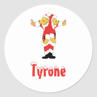 Your Name Here! Custom Letter T Teddy Bear Santas Round Stickers