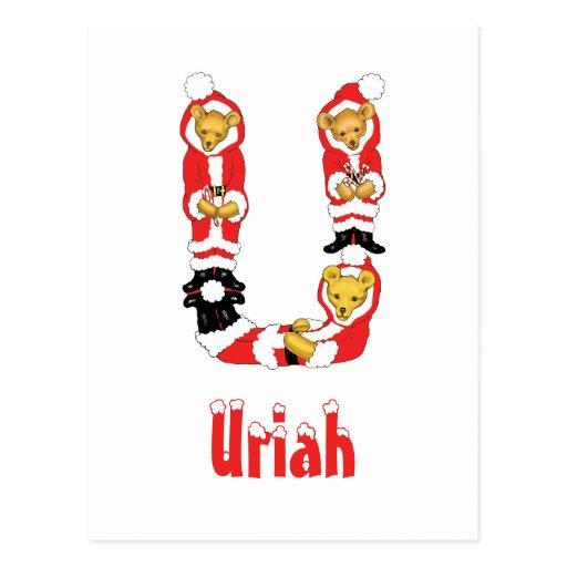 Your Name Here! Custom Letter U Teddy Bear Santas Post Card