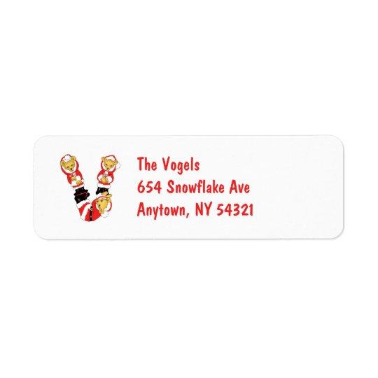 Your Name Here! Custom Letter V Teddy Bear Santas Label