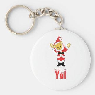 Your Name Here! Custom Letter Y Teddy Bear Santas Basic Round Button Keychain