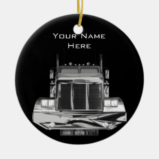 YOUR NAME HERE - Custom Rear-View Mirror Truck Double-Sided Ceramic Round Christmas Ornament