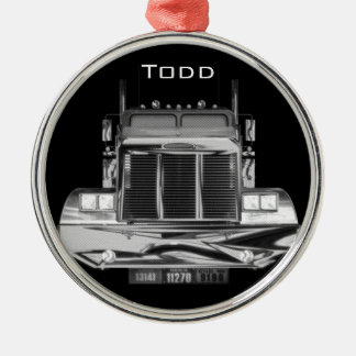 YOUR NAME HERE - Custom Rear-View Mirror Truck Round Metal Christmas Ornament