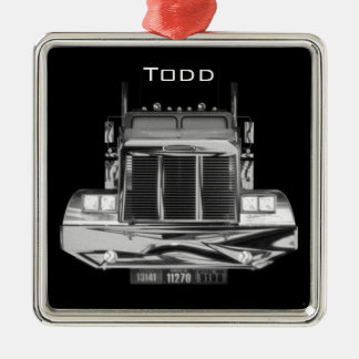 YOUR NAME HERE - Custom Rear-View Mirror Truck Square Metal Christmas Ornament