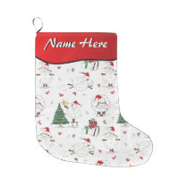 YOUR NAME HERE - Cute Christmas Sheep Large Christmas Stocking