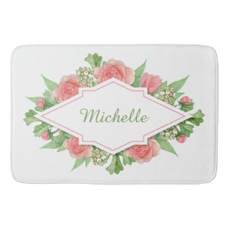 Your Name in a Flower Frame bath mats