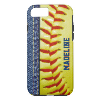 Your Name Jeans Yellow Softball Red Stitch Pattern iPhone 7 Case