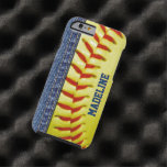 Your Name Jeans Yellow Softball Red Stitch Pattern Tough iPhone 6 Case