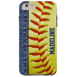 Your Name Jeans Yellow Softball Red Stitch Pattern Tough iPhone 6 Plus Case