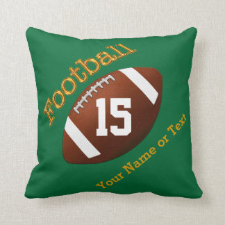 Your NAME, Jersey NUMBER on Green Football Pillows