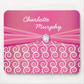 Your Name Jewel Silk Pink Mouse Pad