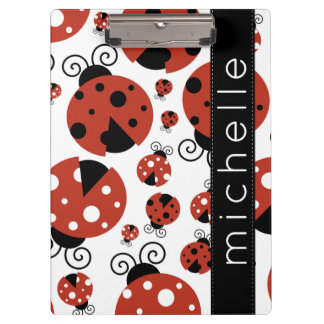Your Name - Ladybugs, Ladybirds - Red Black Clipboard
