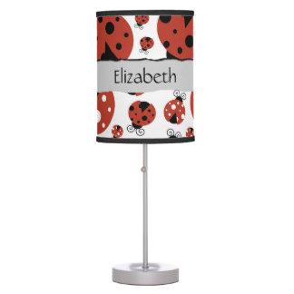 Your Name - Ladybugs, Ladybirds - Red Black Desk Lamp