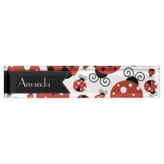 Your Name - Ladybugs, Ladybirds - Red Black Desk Name Plate