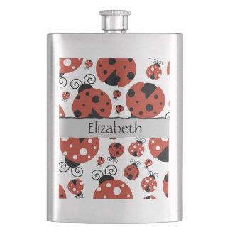 Your Name - Ladybugs, Ladybirds - Red Black Flask