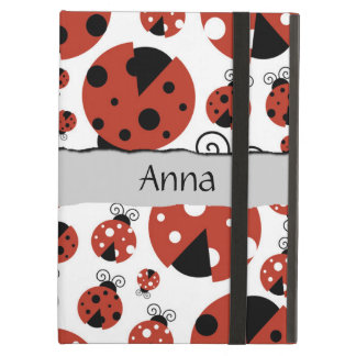 Your Name - Ladybugs, Ladybirds - Red Black iPad Air Cover