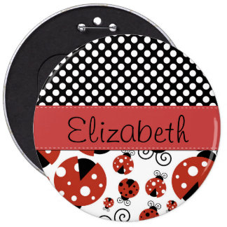 Your Name - Ladybugs, Ladybirds - Red Black Pinback Button