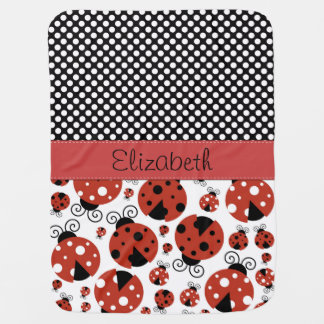 Your Name - Ladybugs, Ladybirds - Red Black Stroller Blanket