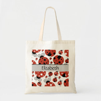 Your Name - Ladybugs, Ladybirds - Red Black Tote Bag
