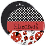 Your Name - Ladybugs, Polka Dots - Red Black 6 Inch Round Button