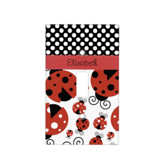 Your Name - Ladybugs, Polka Dots - Red Black Light Switch Plates
