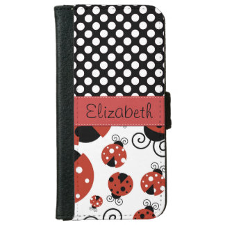 Your Name - Ladybugs, Polka Dots - Red Black Wallet Phone Case For iPhone 6/6s