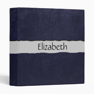 Your Name - Leather Texture, Dyed Leather - Blue Binder