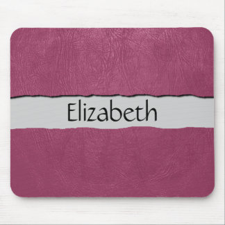 Your Name - Leather Texture, Dyed Leather - Pink Mouse Pad