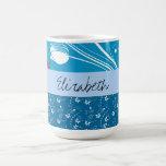 Your Name - Leaves, Curly Swirls - Blue White Classic White Coffee Mug