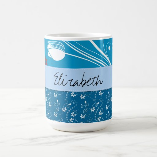 Your Name - Leaves, Curly Swirls - Blue White Mug