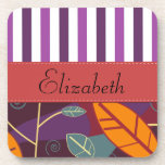 Your Name - Leaves, Stripes - Orange Purple Red Beverage Coaster