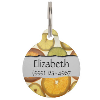 Your Name - Lemon, Orange and Lime Slices - Yellow Pet ID Tag